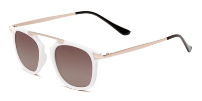 Angle of Rosco #8248 in White Frame with Amber Lenses, Women's and Men's Round Sunglasses