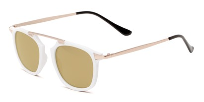 Angle of Rosco #8248 in White Frame with Gold Mirrored Lenses, Women's and Men's Round Sunglasses