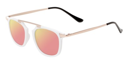 Angle of Rosco #8248 in White Frame with Pink/Yellow Mirrored Lenses, Women's and Men's Round Sunglasses