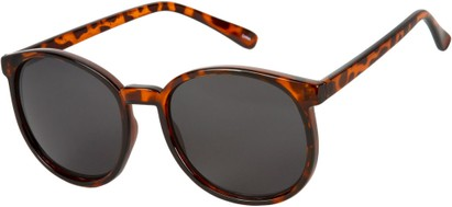 Angle of Fauna #832 in Tortoise Frame with Smoke Lenses, Women's and Men's Round Sunglasses