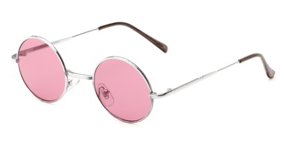 Angle of Dune #2426 in Silver Frame with Light Red Lenses, Women's and Men's Round Sunglasses