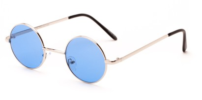 Angle of Dune in Silver Frame with Royal Blue Lenses, Women's and Men's Round Sunglasses