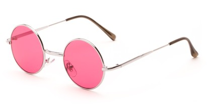 Angle of Dune in Silver Frame with Dark Pink Lenses, Women's and Men's Round Sunglasses