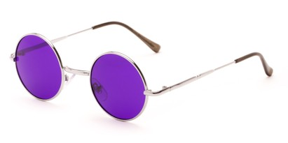 Angle of Dune #2426 in Silver Frame with Dark Purple Lenses, Women's and Men's Round Sunglasses
