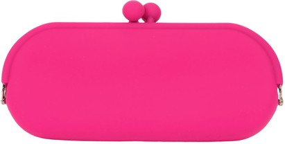 Angle of Large Neon Jelly Sunglasses Case #14 in Fuschia Pink, Women's and Men's