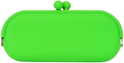 Angle of Large Neon Jelly Sunglasses Case #14 in Lime Green, Women's and Men's