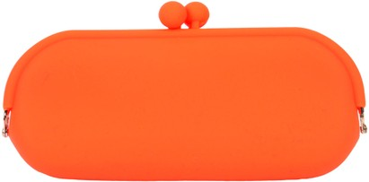 Angle of Large Neon Jelly Sunglasses Case #14 in Neon Orange, Women's and Men's