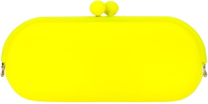 Angle of Large Neon Jelly Sunglasses Case #14 in Yellow, Women's and Men's