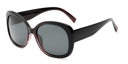 Angle of Estes #2985 in Black/Purple Frame with Grey Lenses, Women's Square Sunglasses