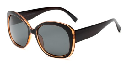 Angle of Estes #2985 in Black/Brown Frame with Grey Lenses, Women's Square Sunglasses