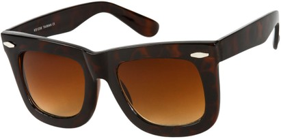 Angle of SW Oversized Retro Style #1877 in Brown Tortoise Frame with Amber Lenses, Women's and Men's
