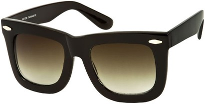 Angle of SW Oversized Retro Style #1877 in Black Frame with Green Lenses, Women's and Men's