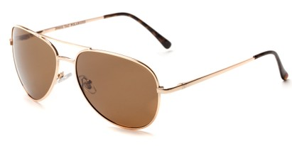 Angle of Expedition #1585 in Gold Frame with Amber Lenses, Women's and Men's Aviator Sunglasses