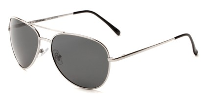 Angle of Expedition #1585 in Silver Frame with Grey Lenses, Women's and Men's Aviator Sunglasses
