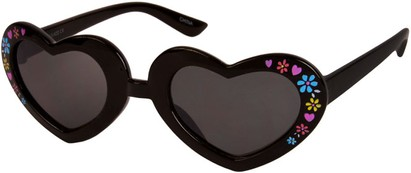 Angle of SW Kid's Heart Style #1477 in Black Frame with Smoke Lenses, Women's and Men's