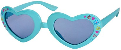 Angle of SW Kid's Heart Style #1477 in Light Blue Frame with Blue Lenses, Women's and Men's