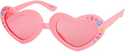 Angle of SW Kid's Heart Style #1477 in Pink Frame with Rose Lenses, Women's and Men's