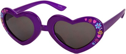 Angle of SW Kid's Heart Style #1477 in Purple Frame with Smoke Lenses, Women's and Men's