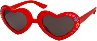Angle of SW Kid's Heart Style #1477 in Red Frame with Smoke Lenses, Women's and Men's