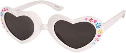 Angle of SW Kid's Heart Style #1477 in White Frame with Smoke Lenses, Women's and Men's