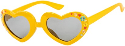 Angle of SW Kid's Heart Style #1477 in Yellow Frame with Smoke Lenses, Women's and Men's