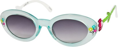 Angle of SW Kid's Floral Cat Eye Style #9934 in Blue/White Frame with Smoke Lenses, Women's and Men's