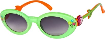 Angle of SW Kid's Floral Cat Eye Style #9934 in Lime Green/Orange Frame with Smoke Lenses, Women's and Men's