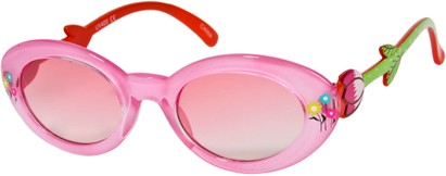Angle of SW Kid's Floral Cat Eye Style #9934 in Pink Frame with Rose Lenses, Women's and Men's