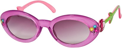 Angle of SW Kid's Floral Cat Eye Style #9934 in Purple Frame with Smoke Lenses, Women's and Men's