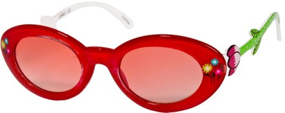 Angle of SW Kid's Floral Cat Eye Style #9934 in Red Frame with Rose Lenses, Women's and Men's