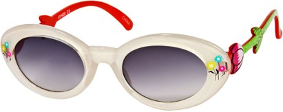 Angle of SW Kid's Floral Cat Eye Style #9934 in White/Red Frame with Smoke Lenses, Women's and Men's