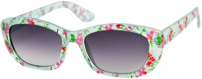 Angle of SW Kid's Tropical Floral Style #9281 in Light Blue Frame, Women's and Men's