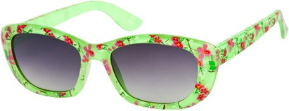 Angle of SW Kid's Tropical Floral Style #9281 in Lime Green Frame, Women's and Men's