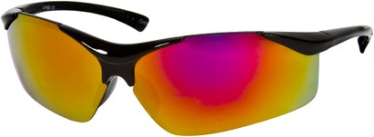 Angle of SW Kid's Sport Style #9412 in Black Frame with Orange Mirrored Lenses, Women's and Men's