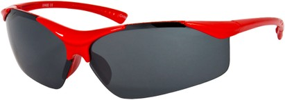 Angle of SW Kid's Sport Style #9412 in Red Frame with Smoke Mirrored Lenses, Women's and Men's