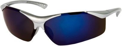 Angle of SW Kid's Sport Style #9412 in Silver Frame with Purple Mirrored Lenses, Women's and Men's