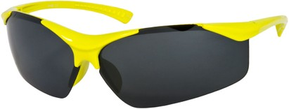 Angle of SW Kid's Sport Style #9412 in Yellow Frame with Smoke Mirrored Lenses, Women's and Men's