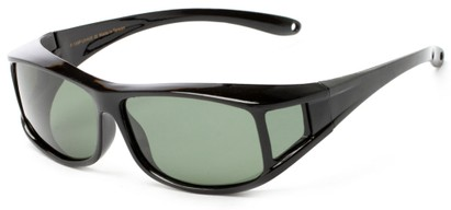 Angle of Seymour #1090 in Glossy Black Frame with Green Lenses, Women's and Men's Square Sunglasses