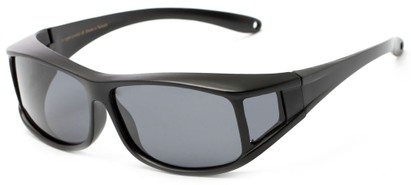Angle of Seymour #1090 in Matte Black Frame with Smoke Lenses, Women's and Men's Square Sunglasses