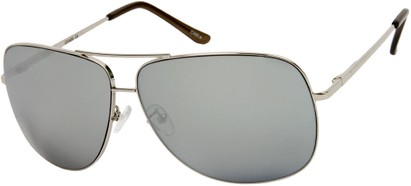 Angle of SW Mirrored Square Aviator Style #1999 in Silver Frame, Women's and Men's