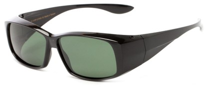 Angle of Dunlap #1100 in Glossy Black Frame with Green Lenses, Women's and Men's Square Sunglasses