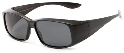 Angle of Dunlap #1100 in Matte Black Frame with Smoke Lenses, Women's and Men's Square Sunglasses