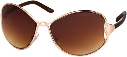 Angle of SW Oversized Metal Style #1195 in Gold/Brown Frame, Women's and Men's