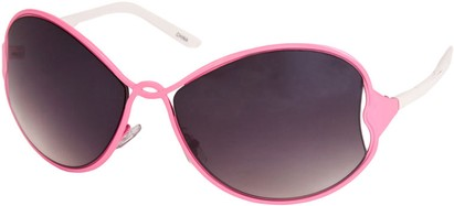 Angle of SW Oversized Metal Style #1195 in Pink/White Frame, Women's and Men's