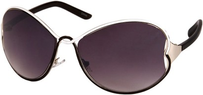 Angle of SW Oversized Metal Style #1195 in Black/White/Silver Frame, Women's and Men's