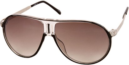 Angle of SW Retro Aviator Style #1338 in Black and Clear Frame, Women's and Men's
