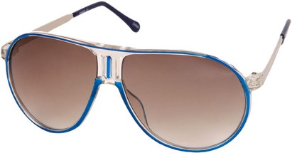 Angle of SW Retro Aviator Style #1338 in Blue and Clear Frame, Women's and Men's