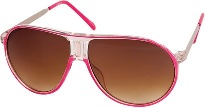 Angle of SW Retro Aviator Style #1338 in Pink and Clear Frame, Women's and Men's