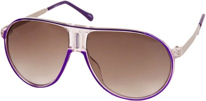 Angle of SW Retro Aviator Style #1338 in Purple and Clear Frame, Women's and Men's