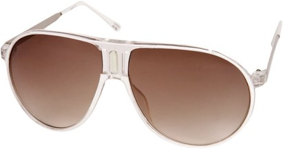 Angle of SW Retro Aviator Style #1338 in White and Clear Frame, Women's and Men's